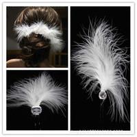 al por mayor accesorios para el cabello de plumas de novia blanco-Accesorios nupciales baratos al por mayor del pelo de la boda del pelo blanco de la pluma U ornamentos cristalinos de la horquilla