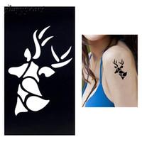 Wholesale Piece Henna Tattoo Stencil for Women DIY Body Art Airbrush Painting Elk Animal Pattern Painless Henna Template Fake Tattoo G85