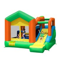Wholesale MR FUN residential sport bouncy trampoline with slide high quality inflatable house bouncer kids garden yard inflatable castle