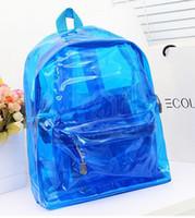 La moda bolsas de plástico transparentes Baratos-Bolso plástico claro del recorrido de Bookbag del morral del nuevo de la manera de la alta calidad 2016 del morral transparente de las mujeres bolsos de pvc