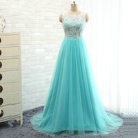 Wholesale 2017 Light Sky Blue A Line Evening Dresses Jewel Sleeveless Sweep Train Lace Hollow Back Formal Dress Sweet Long Prom Gowns