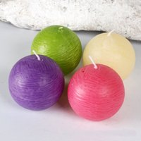 Wholesale 195g Essential Oil Bathroom Candles set Smokeless Natural Ball Shape Dinner Candles Wedding Party Decoration Mix Color