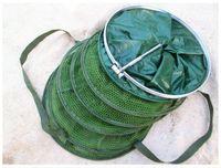 Venta caliente 33 * 200cm plegable pesca neto captura cangrejo camarón Minnow pesca cebo trampa fundido Dip neto de red de la jaula