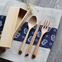 Wholesale Wooden Flatware Sets Spoon Fork Chopstick Box Portable Student Tableware Sets MOQ