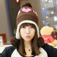 Wholesale Hat hair ball wool ear autumn and winter love tide knitted hat women s ball love heart warm double layer Korean