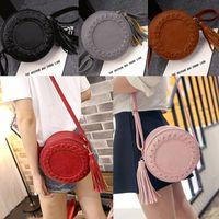 baguette roll - New Fashion Women Tassel Round Weave Cross Body Bags Messenger Ladies Cute Roll Shoulder Bag