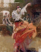 Wholesale Pino Flamenco in Red Spanish Hand painted famous Impressionist Girls Art Oil Painting On Quality Thick Canvas Multi sizes available Pn004