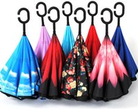 Wholesale 2017 Creative Inverted Umbrellas Double Layer With C Handle Inside Out Reverse Windproof Umbrella colors Free shiping