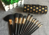 backpack collections - 50lot BH Cosmetics Dot Collection Piece Brush Set Pink Black White With Holder Face Brush Set Kit Face Powder Brush Set fast shipping