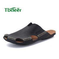 Wholesale Fashion Men Slippers Genuine Leather Mens Sandals Summer Breathable Men s Beach Shoes Flip Flops Fashion Casual Slippers