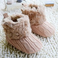 Wholesale Hot Baby Shoes Infants Crochet Knit Fleece Boots Toddler Girl Boy Wool Snow Crib Shoes Winter Booties