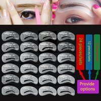 Wholesale 24pcs Eyebrow Stencils Styles Reusable Eyebrow Drawing Guide Card Brow Template DIY Make Up Tools Wholesales