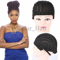 Wholesale Popular Black Cornrow Wig Caps For Making Wigs With Adjustable Strap Braided Cap easy braids For Wig Cap Crochet Synthetic Braiding hair