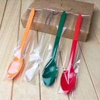 Wholesale cm Disposable Plastic Dessert Ice Cream Spoon For Party Birthday Separate Packaged Green Red Orange Transparent
