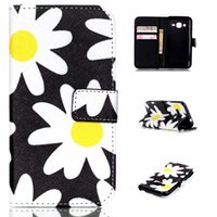 ace sun - Yellow White Sun Flower Pattern Pu Leather Flip Stand Wallet Card Slots Pouch Shell Cover Case For Samsung Galaxy J1 ACE J110 J110H
