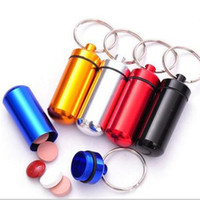 Wholesale 5 color Waterproof Aluminum Medicine Pill case Bottle Keychain Container Mini EDC Camping Drifting First Aid Storage Cartridge