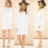 Wholesale Lady Casual Long Sleeve Long Tunic Solid Top Scoop Neck T Shirt Dress