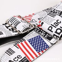 Wholesale PU Guitar Straps Soft Thick Cool Pattern Adjustabl Bass Acoustic Electric Folk Guitar Strap with Leather Ends