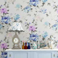 big flower wallpaper - Chinese Painting Art Style Classic Design Big Red Blue Purple Flowers Wallpaper Wall Decor Coverings Rolls Non Woven