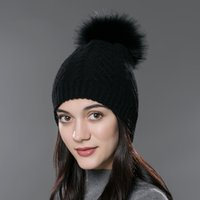 big red fox - Winter fur pompom hat for women cashmere wool cotton hat Big Real Raccoon fur pompom Beanies cap Fox fur bobble hat