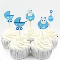 Cheap Wholesale-Baby Wagon Party cupcake toppers picks decoration for Kids Birthday party Baby Shower Cake favors Decoration supplies