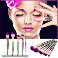 Wholesale Purple Makeup Brushes Set honeycomb rainbow handle Cosmetic Powder Foundation Eyeshadow Brush beauty tools kit
