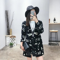 american standard music - Europe and US foreign trade original single new wild loose musical notes pattern cardigan sweater fashion music women sweater