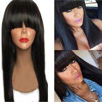Wholesale Hot selling bob short wig simulation Human Hair Wigs silky straight short bob style wigs with bang natural color for black women