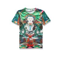 2017 sping nuevo desgaste de verano desgaste de algodón de alta calidad algodón novedad tees 3d imprimir verde de fondo mujer budista mens camiseta unisex o-cuello camisetas