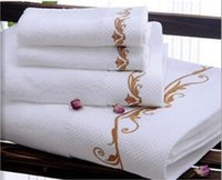 beauty salons bath - Five star hotel Beauty Salon Club SPA Imported cotton Satin striped Platinum wire Embroidered Bath hand and face towel pieces set colors