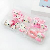 Wholesale 1set korean cute style hello kitty elastic hair bands Children Girl hair clip kids hair accessories Beautifully Edition