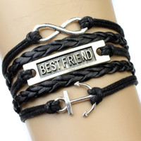 achat en gros de bracelet en cuir noir infini d'ancrage-Meilleur ami à Infinity et au-delà Infinity Love Nautical Anchor Charm Bracelet Mens Wrap Black Leather Personnaliser Customizable