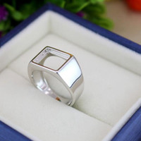 Wholesale 925 Sterling Silver Fashion Wedding Ring x11mm Princess Cabochon Semi Mount Men Fine Silver Ring Setting Jewelry