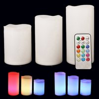 Wholesale DHL set Colorful Changing Colors RGB LED Flickering Flameless Paraffin Wax Candles keys remote controller Wedding Christmas Decor