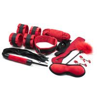Wholesale 9 set Adult Games bdsm Bondage Handcuffs Whip Collar Sex Toys for Couples Bondage Restraints