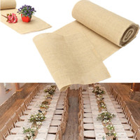 Wholesale Hessian Burlap Craft Ribbon Vintage Wedding Home Decor DIY x275cm Lace Table Runner Party Event Supplies