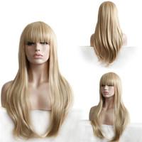 al por mayor resistente para el cabello de calor-Pelucas de pelo sintético recto largo peluca de Bang completo lateral para las mujeres resistentes al calor rubia con red de pelo libre