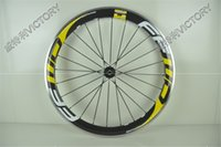 Wholesale High Quality mm yellow white clincher carbon bicycle wheels alloy braking surface speed front rear holes