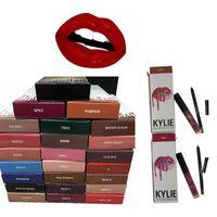 Wholesale 28 Colors Lip Gloss KYLIE JENNER Lip Gloss Sets lipliner Lipkit Velvetine Liquid Matte Lipstick kits Makeup Lip Gloss with liner pencil