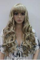Wholesale Light Brown Blonde Mixed Long Wavy Women Ladies Daily wig bangs FTLC129