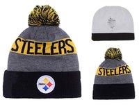 Wholesale winter Hot Steelers Football Pom Pittsburgh Beanies Football Beanies Knit Beanie Hats Warm Winter Caps Sports Team Hats