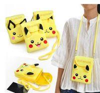 Mini sac à dos Pikachu Coin Purse Plush Sac à bandoulière à double couche pour téléphone Sac à main pour enfants Cartoon Mini Eevee Porte-clés