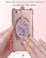 apple cosmetic case - iPhone Plus Lady Hybrid Mobile Phone Case with Partable Cosmetic Mirror Sculptural Teach Feeling Girl Phone Covers for Samsung S7E