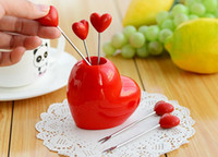 Wholesale Flatware Fork Sets Red Heart Stainless Steel Fruit Fork stand tableware Dinnerware Sets fruit toothpick kitchen accessories