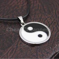 Wholesale Vintage Stainless Steel Yin Ying Yang Pendant Necklace Black White Necklace Men PU Leather Necklaces Jewelry