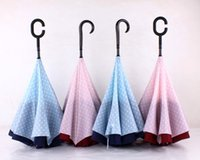 Wholesale New inverted umbrella Creative polka dot pattern double layer sunny and rainy umbrellas