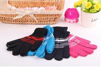 Enfants d'automne et d'hiver fils thermique tricotés gants garçon et filles stripe gants de couleur enfants enfants pleins mitaines cadeau ZA1506