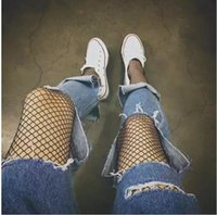 Wholesale 2017 new red net with Europe pantyhose wind ripped jeans socks Harajuku mesh Fishnet Stockings Black Female
