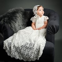 Wholesale Hot Sale Newborn Lace Christening Dresses Short Sleeves For Baby Girl Baptism Gowns Cheap Kid First Communication Dress With Hat