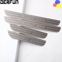 Wholesale 4PCS For Peugeot Interior Decoration Outer Stainless Steel Door Sill Scuff Welcome Pedal Car Styling